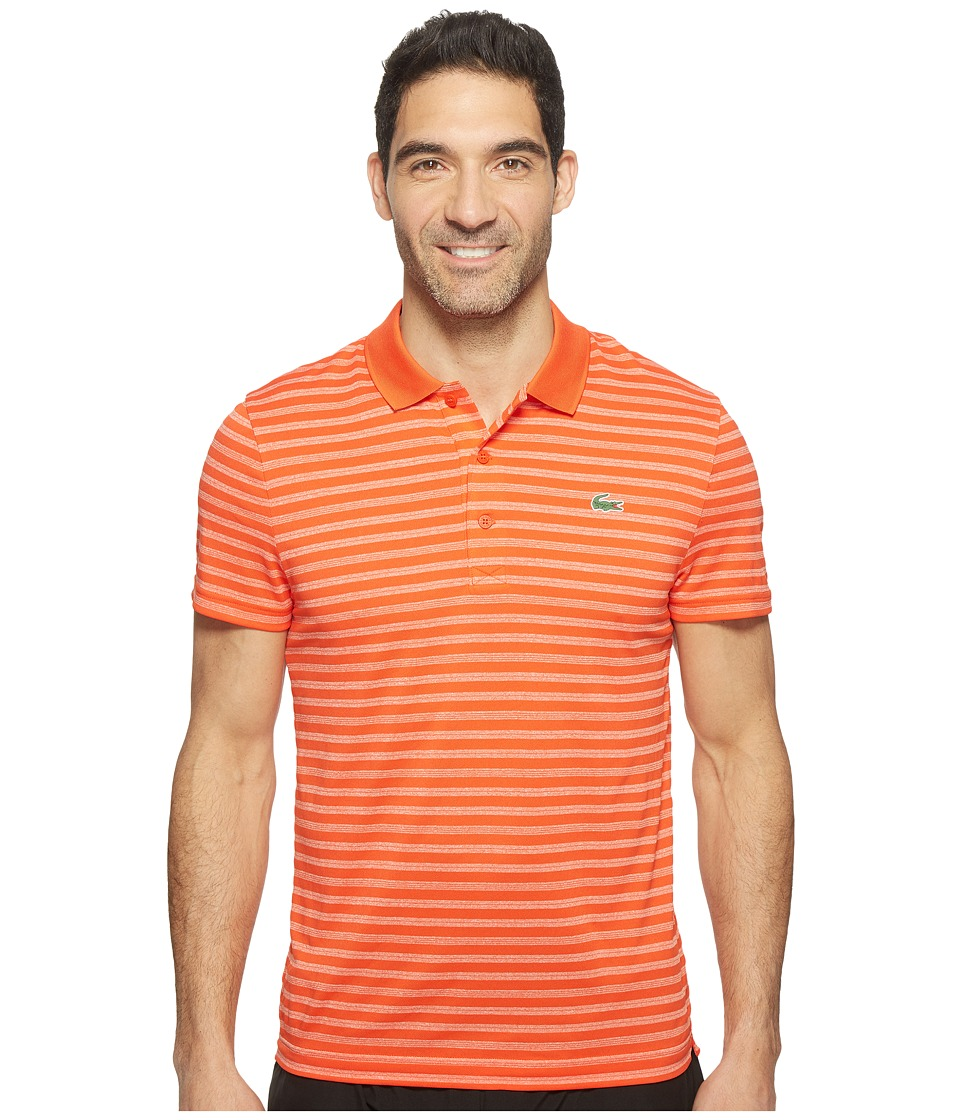 Lacoste - Golf Fine Stripe Ultra Dry Pique Knit (Etna Red/White) Men's Clothing