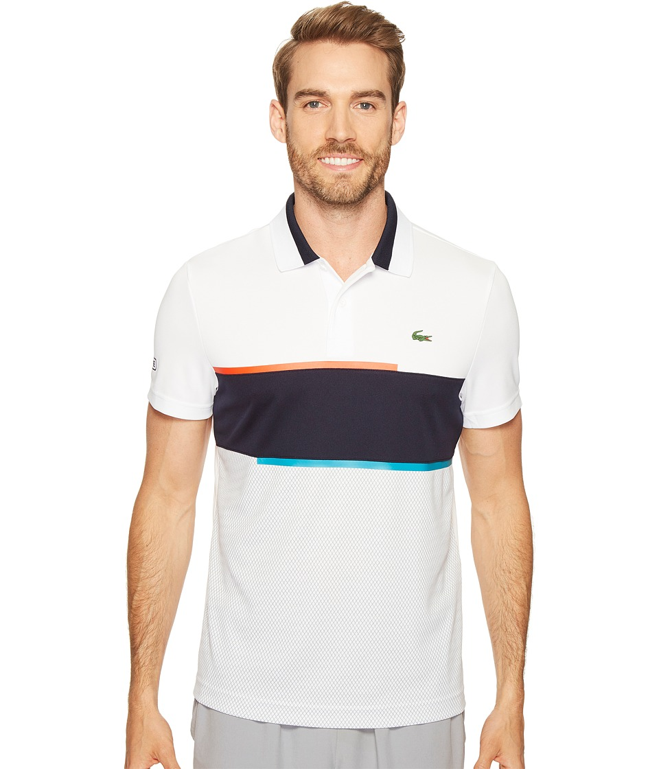 Lacoste - T1 Chest Stripe Ultra Dry Pique Knit (White/Navy Blue/Etna Red/Oceanie) Men's Clothing