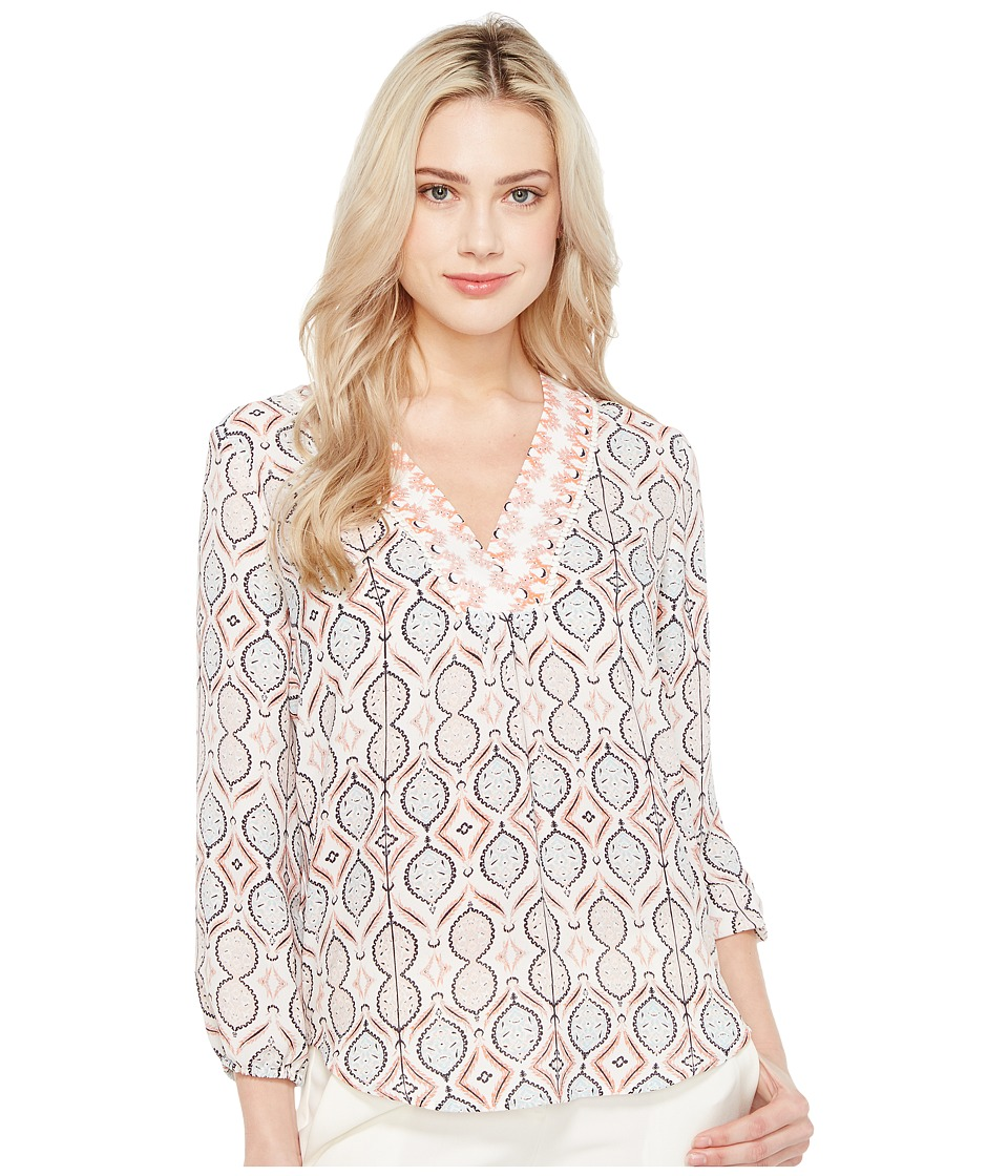 Ivanka Trump - Long Sleeve Printed Floral Georgette Blouse (Navy/Coral) Women's Blouse