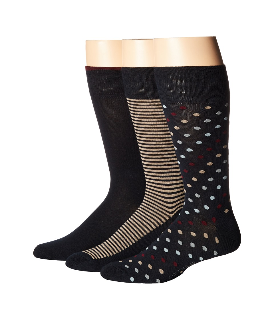 Cole Haan - 3-Pack Dot/Stripe Crew (Navy/Zinfandel/Dune) Men's Crew Cut Socks Shoes