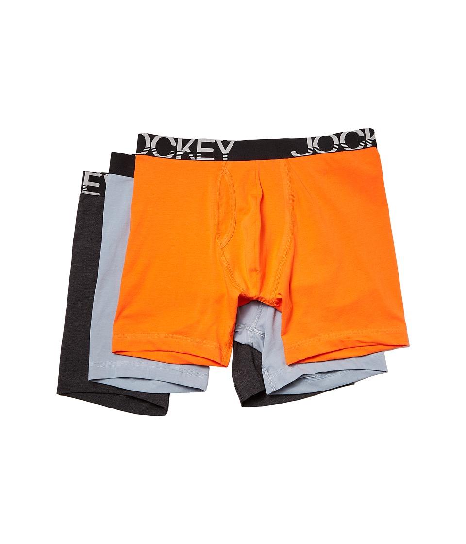 Jockey - Cotton Stretch Low Rise Midway(r) Brief (Ultra Orange/Silver Line Blue/Onyx Heather) Men's Underwear