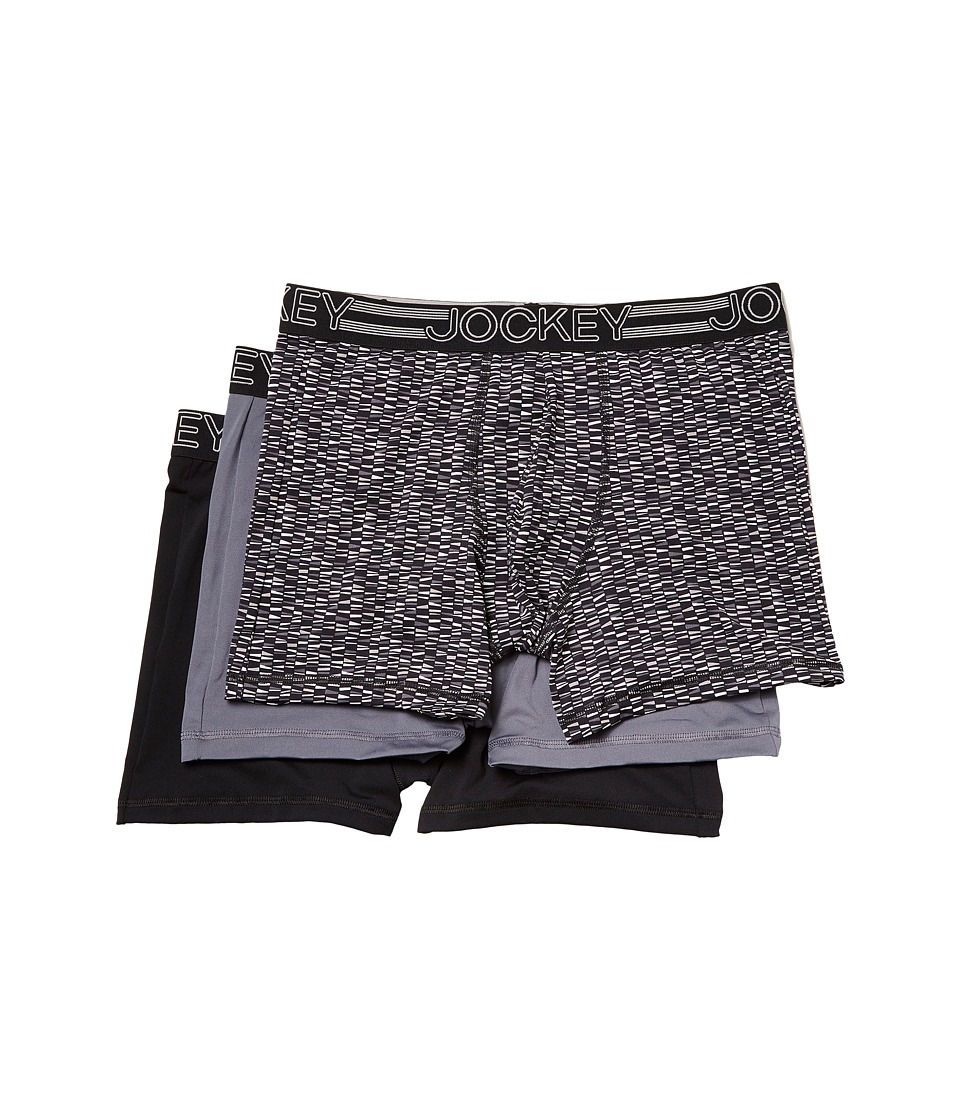 Jockey - Active Microfiber Boxer Brief (Funky Black/White/Lantern Grey/Black Nylon) Men's Underwear
