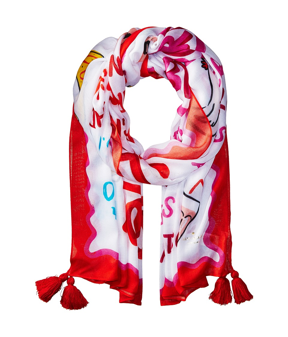 Kate Spade New York - Taco Menu Oblong Scarf (Cream) Scarves