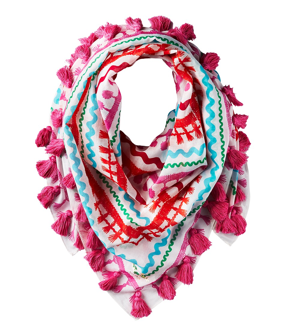 Kate Spade New York - Rick Rack Square Scarf (Fresh White) Scarves