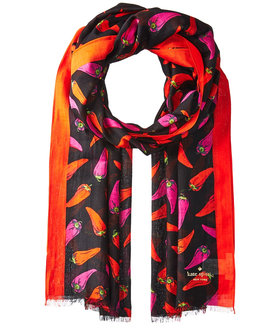 Kate Spade New York - Hot Pepper Oblong Scarf (Black) Scarves