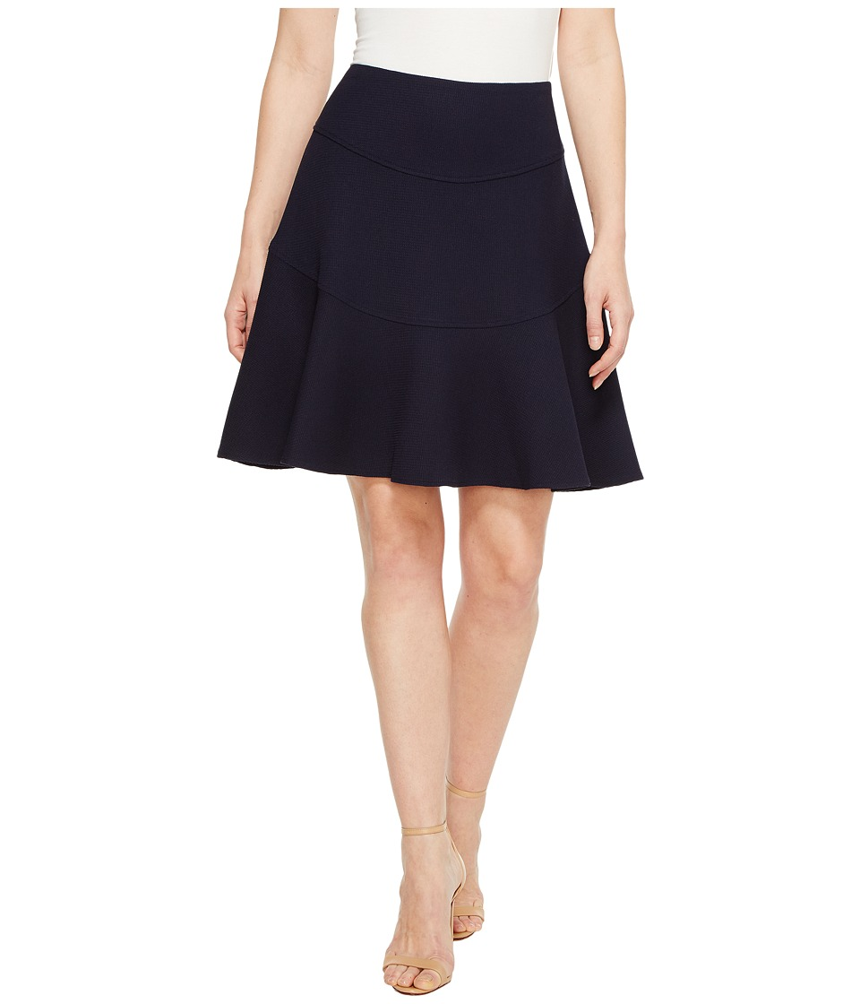 Ivanka Trump - Textured Flounce Skirt (Navy) Women's Skirt