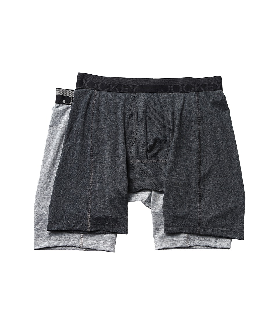 Jockey - Sport Outdoor Midway Brief 2-Pack (Dark Grey Heather/Grey Heather Winds) Men's Underwear