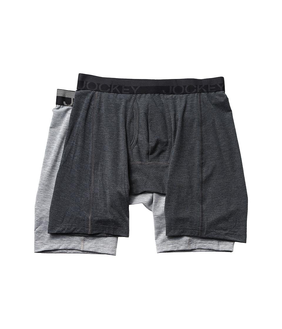 Jockey - Sport Outdoor Midway Brief 2-Pack (Dark Grey Heather/Grey Heather Winds) Men's Underwear