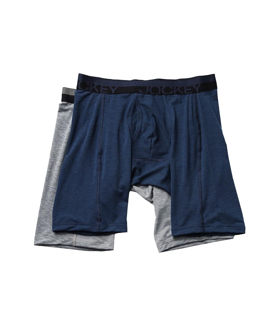Jockey - Sport Outdoor Midway Brief 2-Pack (Midnight Heather/Grey Heather Winds) Men's Underwear