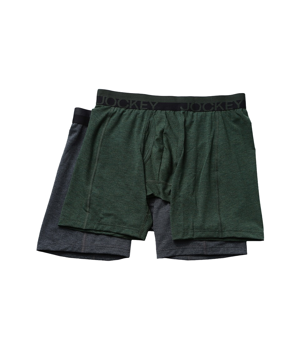 Jockey - Sport Outdoor Boxer Brief (Forest Heather/Dark Grey Heather Winds) Men's Underwear
