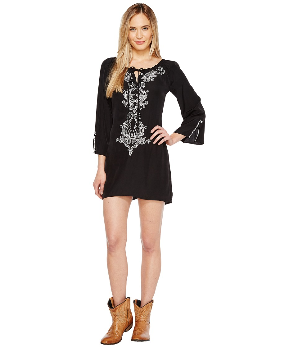 Union of Angels - Luciana Dress (Black/White Embroidery) Women's Dress