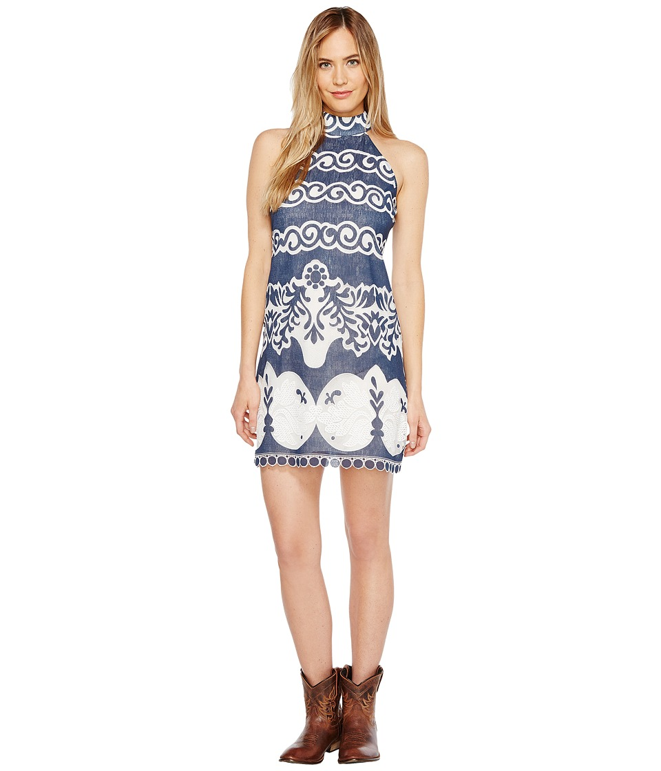 Union of Angels - Marina Dress (Navy/White Print) Women's Dress