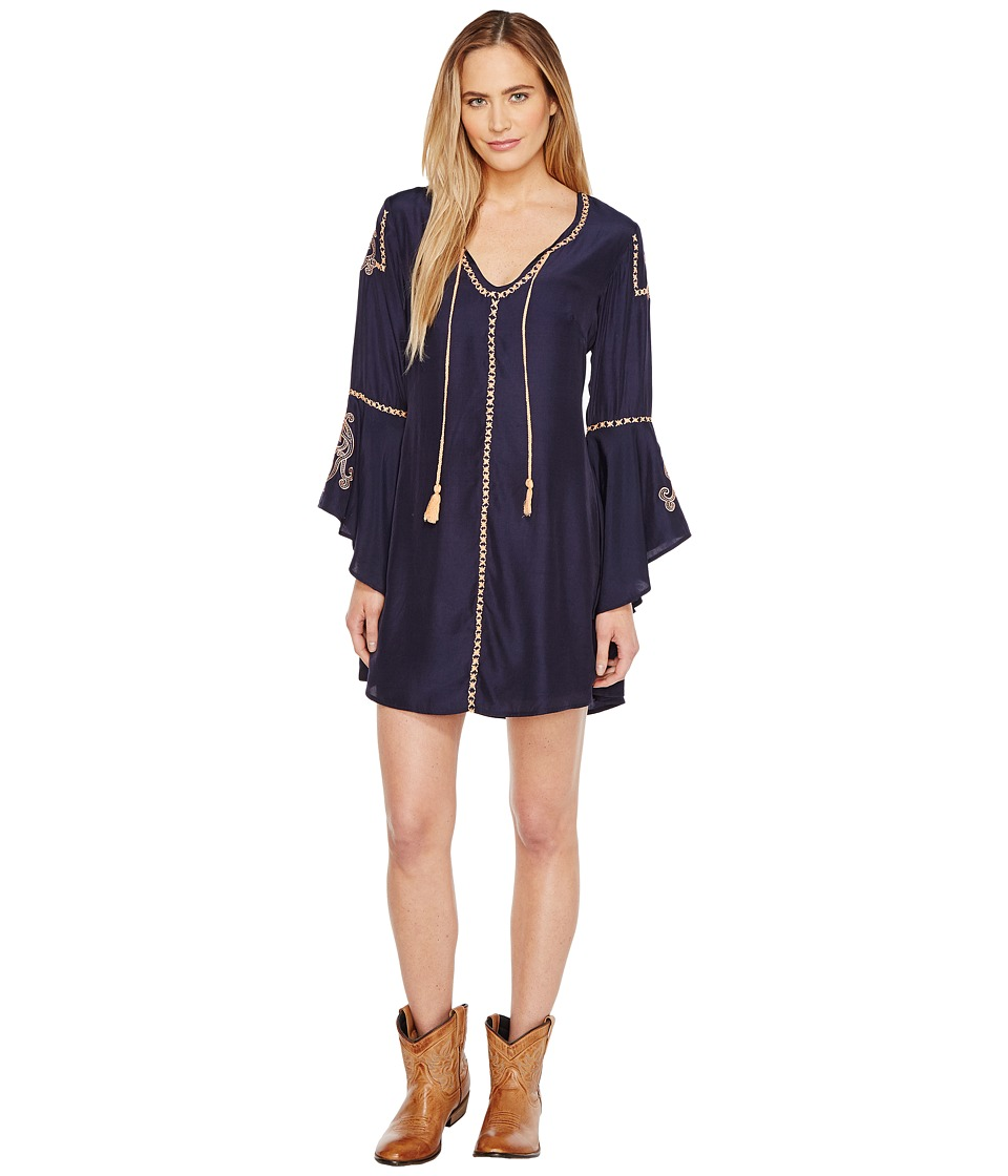Union of Angels Ana Maria Dress (Navy/Tangerine Embroidery) Women