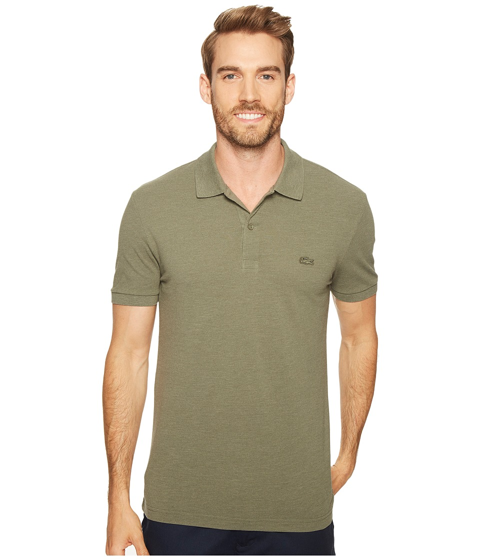 Lacoste - Short Sleeve Garment Dyed Vintage Polo Slim (Army Dyed) Men's Short Sleeve Pullover