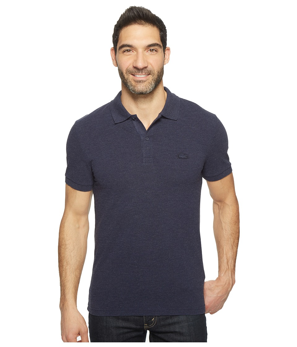 Lacoste - Short Sleeve Garment Dyed Vintage Polo Slim (Navy Blue Dyed) Men's Short Sleeve Pullover