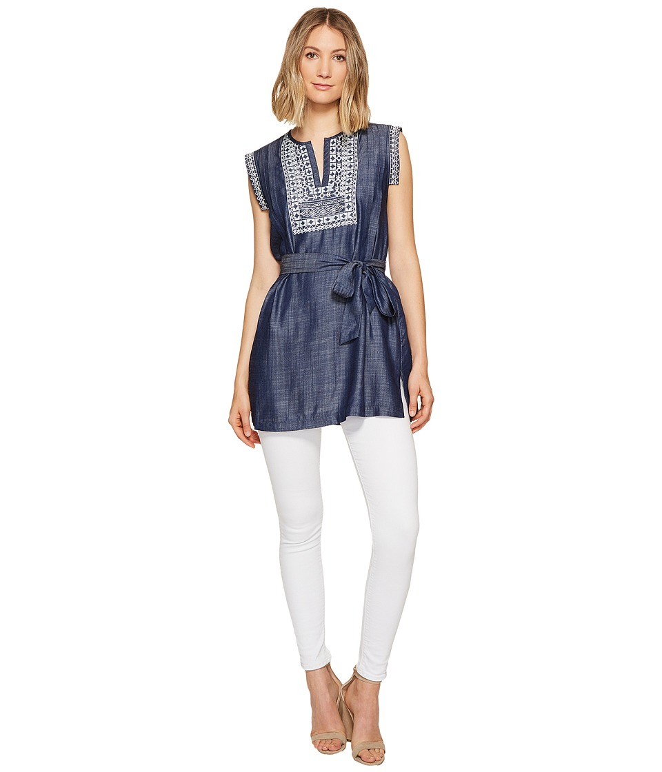 Ivanka Trump - Denim Embroidered Tunic (Blue/Ecru) Women's Blouse