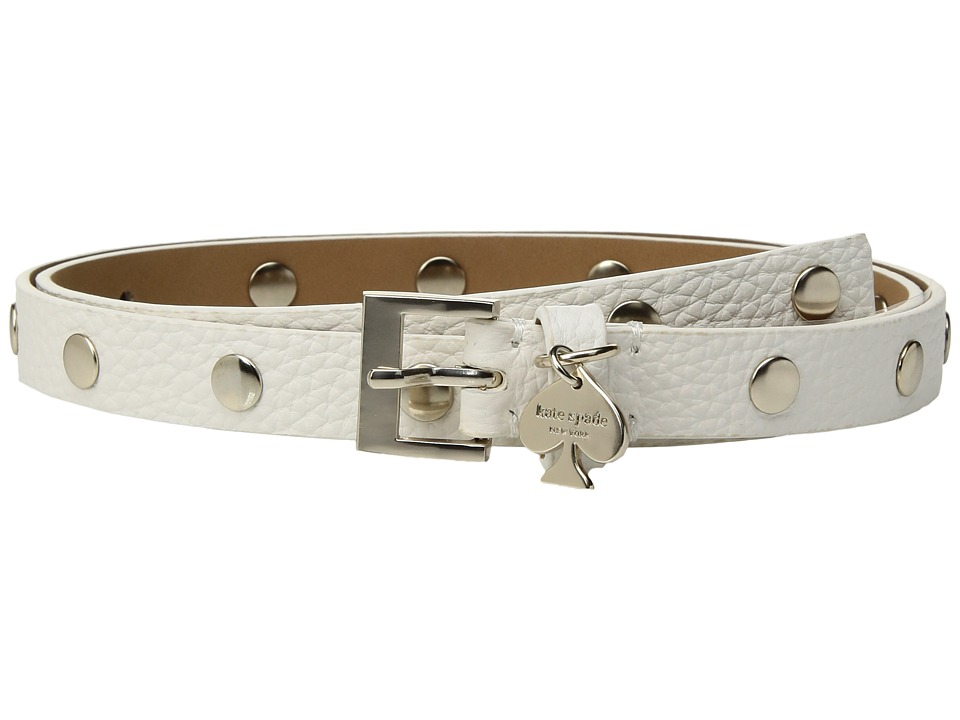 Kate Spade New York - 1/2 Pebble Studded Belt w/ Spade Charm Drop (Fresh White) Women's Belts