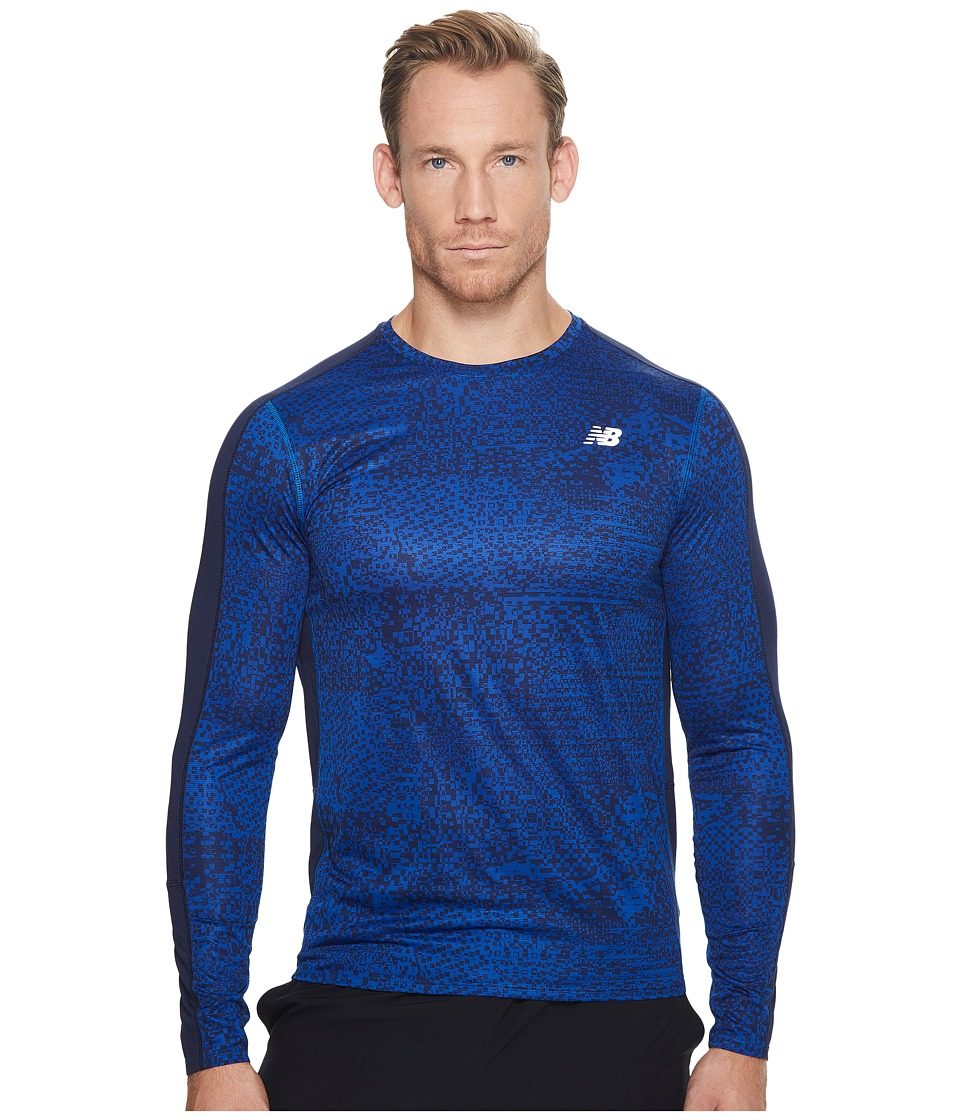 New Balance - Accelerate Graphic Long Sleeve (Team Royal Shattered Print/Tempest) Men's Clothing