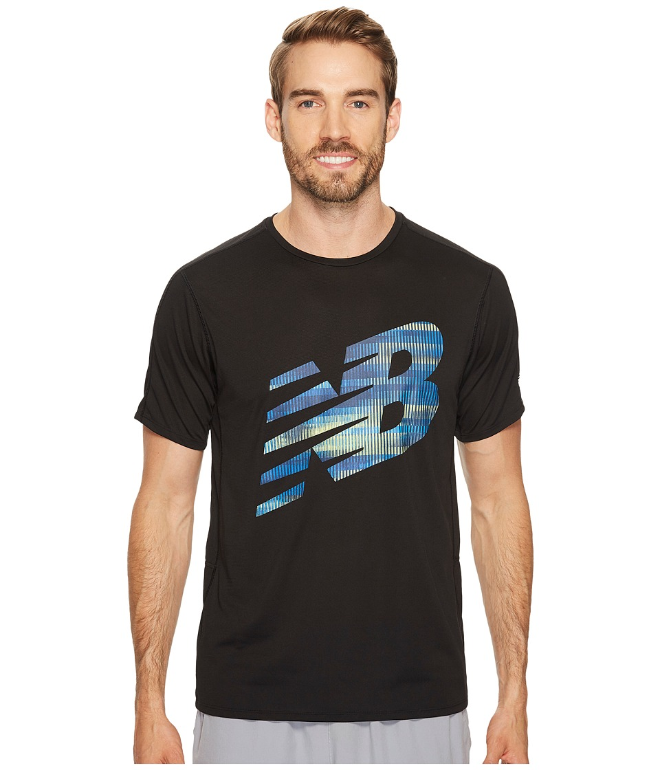 New Balance - Accelerate Short Sleeve Graphic Top (Black/Bolt/Energy Lime) Men's Clothing