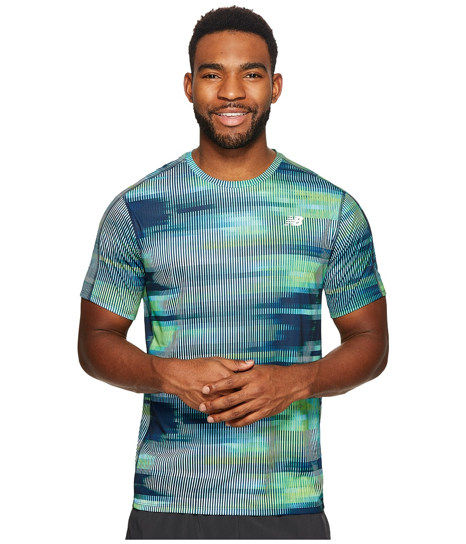 New Balance - Accelerate Short Sleeve Graphic Top (Bolt Scramble Stripe/Energy Lime/Tm Royal) Men's Clothing