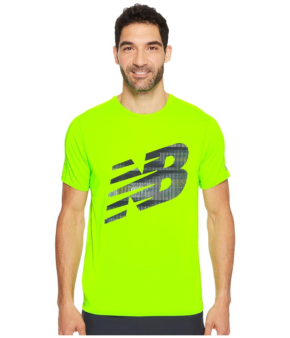 New Balance - Accelerate Short Sleeve Graphic Top (Energy Lime/Thunder/Black) Men's Clothing