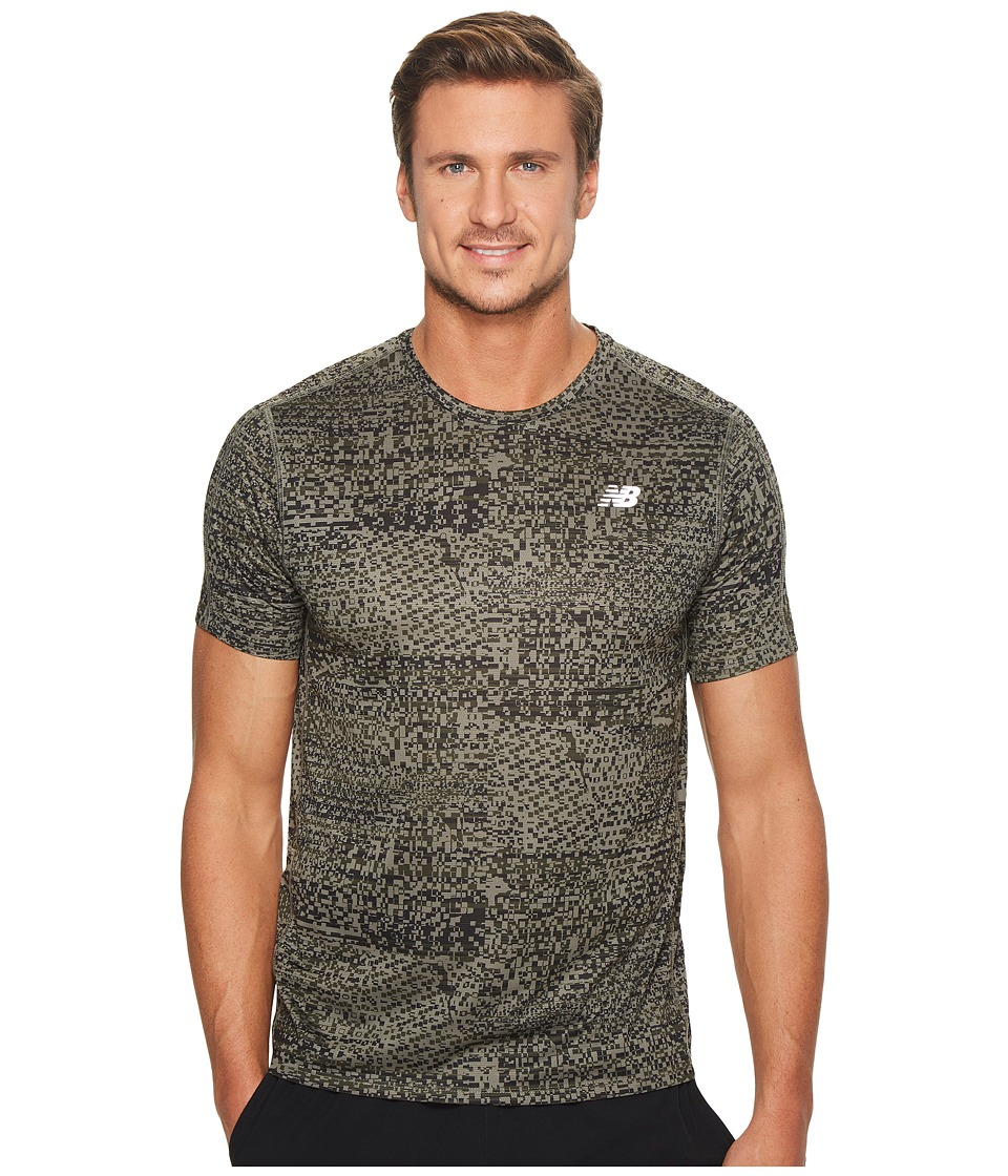 New Balance - Accelerate Short Sleeve Graphic Top (Military Foliage Print/Military Dark Green) Men's Clothing