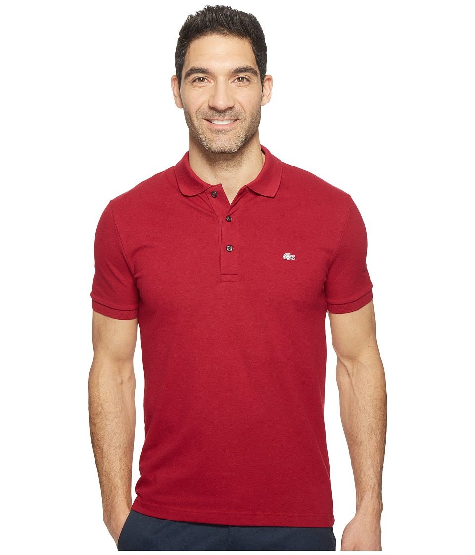 Lacoste - Stretch Petit Piqu Slim Fit Polo (Bordeaux) Men's Short Sleeve Pullover