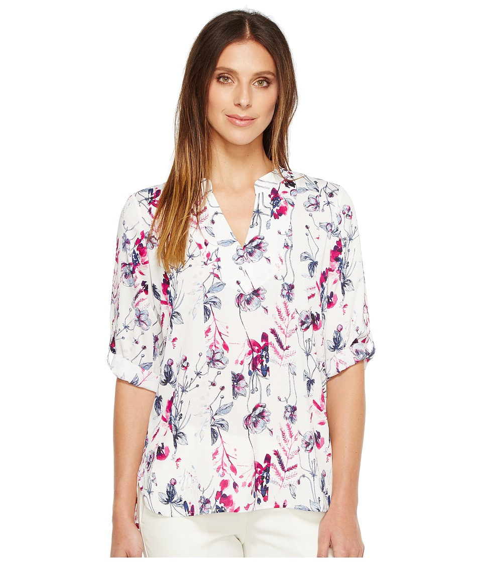 Ivanka Trump - Roll Up Sleeve Tunic Printed Blouse (Ivory/Dahlia) Women's Blouse