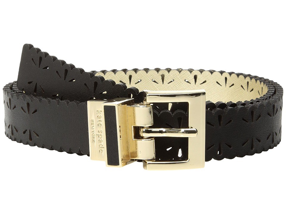 Kate Spade New York - 1 Saffiano Perforated Reversible Belt (Black/Fresh White) Women's Belts