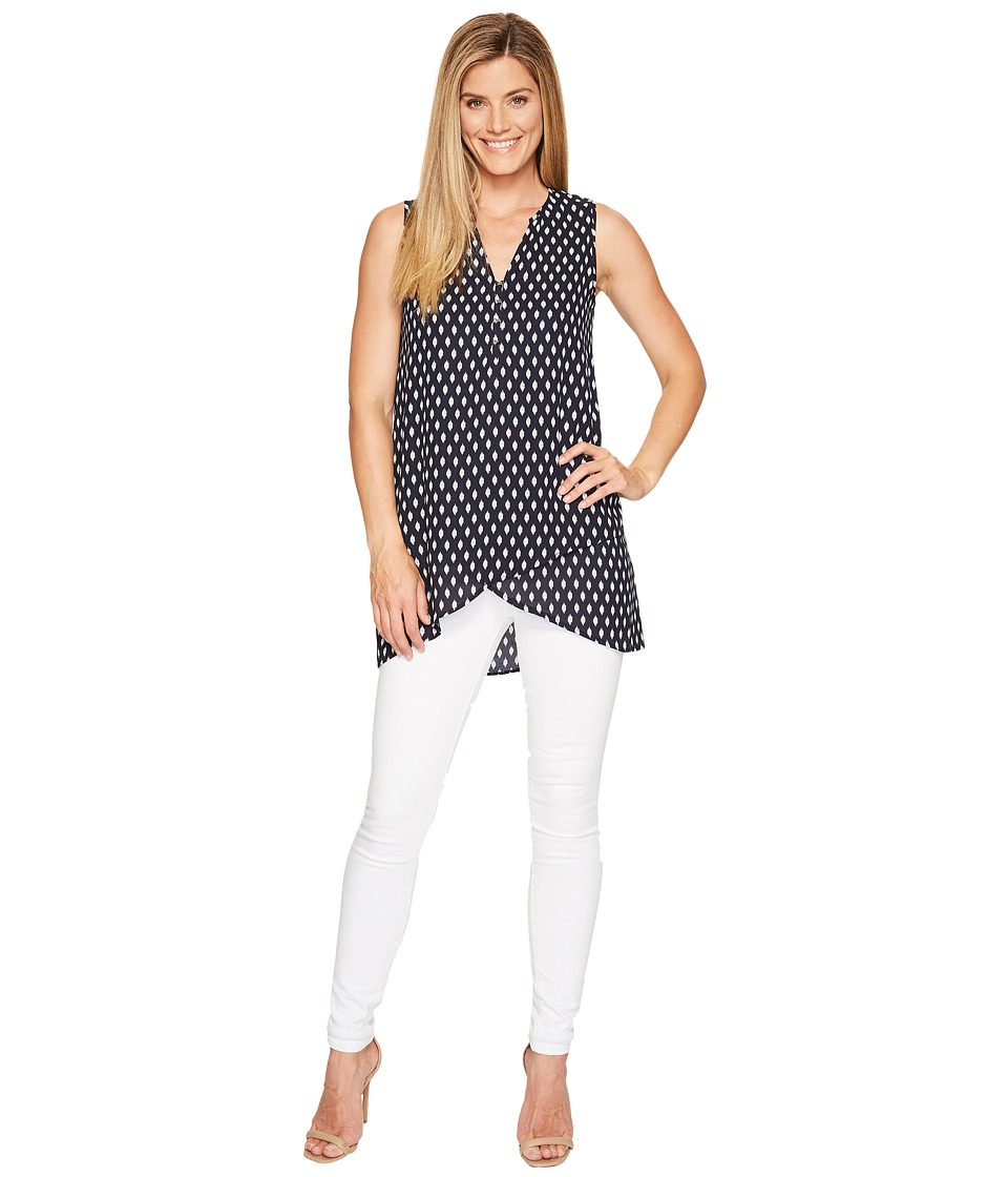 Ivanka Trump - Printed Georgette Tunic with Hardware Detail (Navy/Ivory) Women's Blouse
