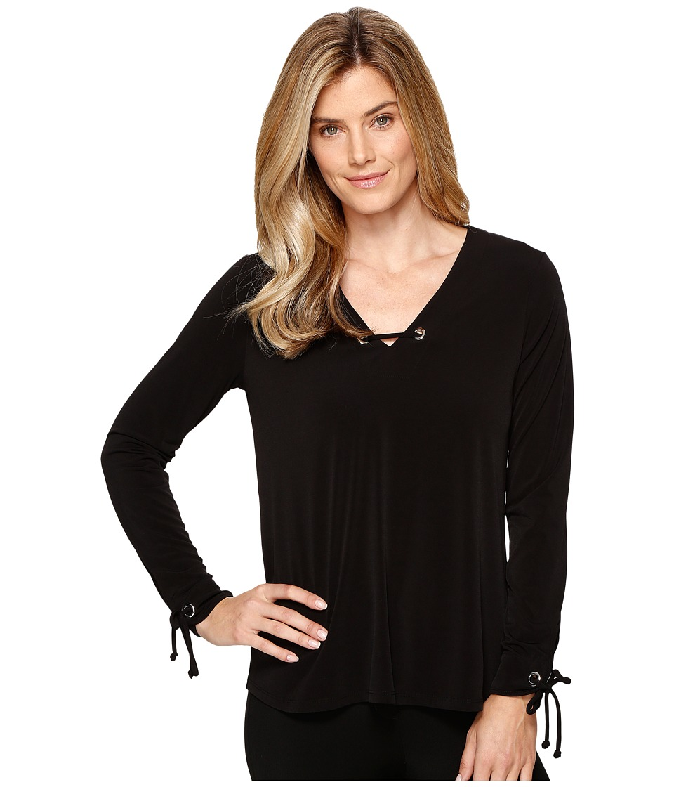 Ivanka Trump - Long Sleeve Matte Jersey Top with Hardware (Black) Women's Clothing