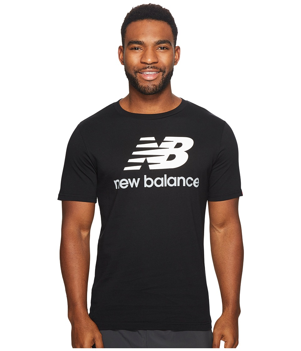 New Balance - Essentials Stacked Logo Tee (Black) Men's Clothing
