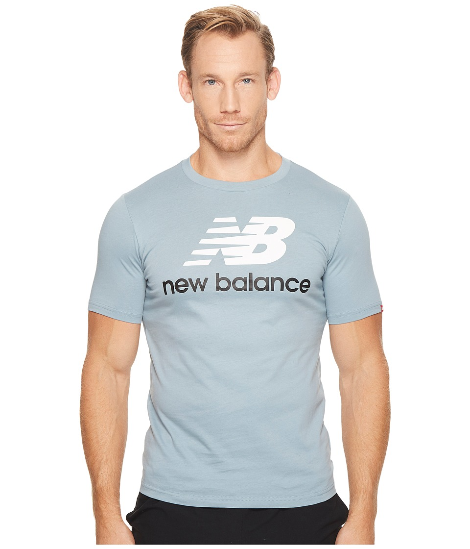 New Balance - Essentials Stacked Logo Tee (Light Cyclone) Men's Clothing