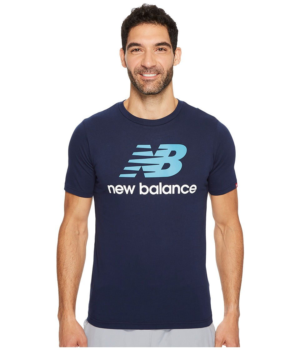 New Balance - Essentials Stacked Logo Tee (Pigment) Men's Clothing