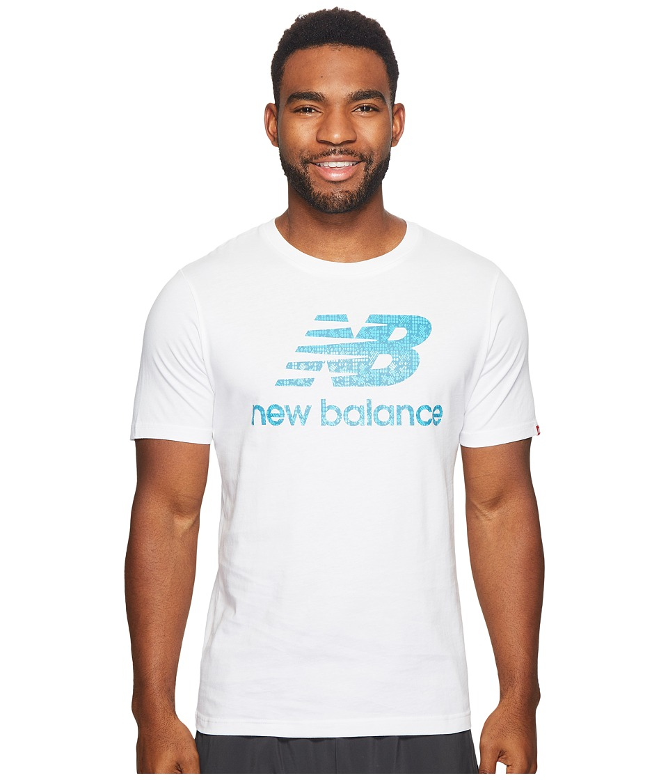 New Balance - Essentials Filled Logo Tee (White) Men's Clothing