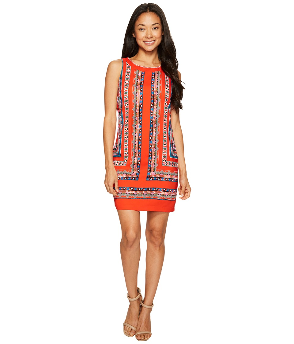 Vince Camuto Specialty Size - Petite Sleeveless Havana Geo Shift Dress (Red Hot) Women's Dress
