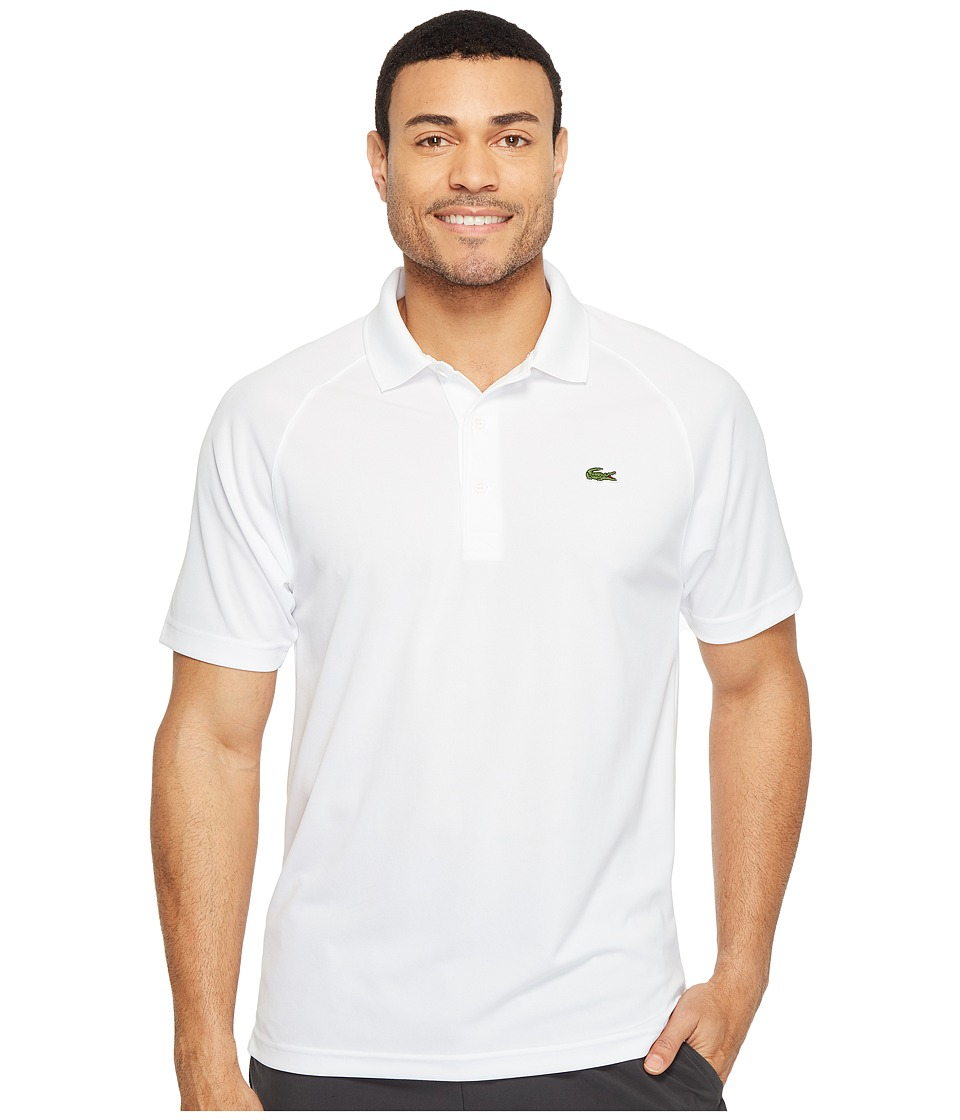 Lacoste - Sport Short Sleeve Ultra Dry Raglan Sleeve Polo (White) Men's Short Sleeve Pullover