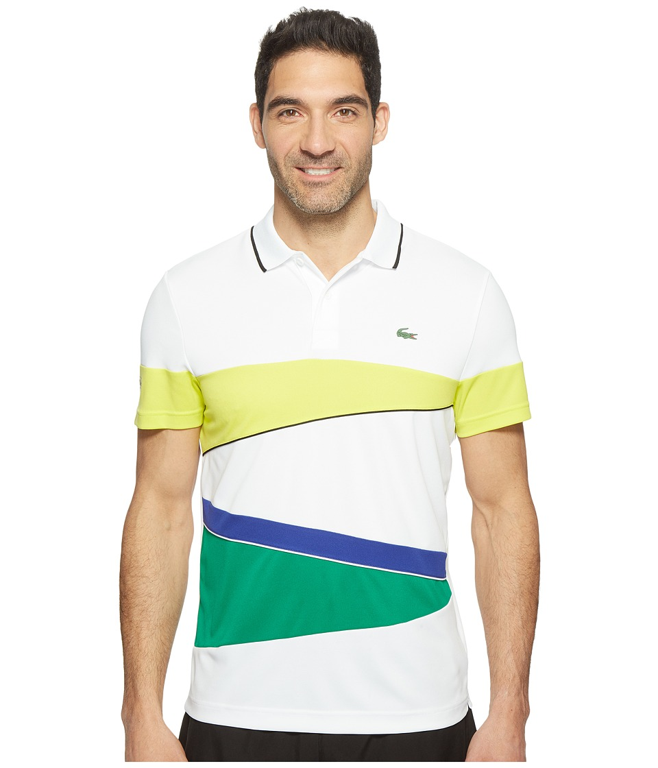 Lacoste - T2 Engineered Color Block Ultra Dry Polo (White/Lemon Tree/Black/France/Woodland Green) Men's Short Sleeve Pullover