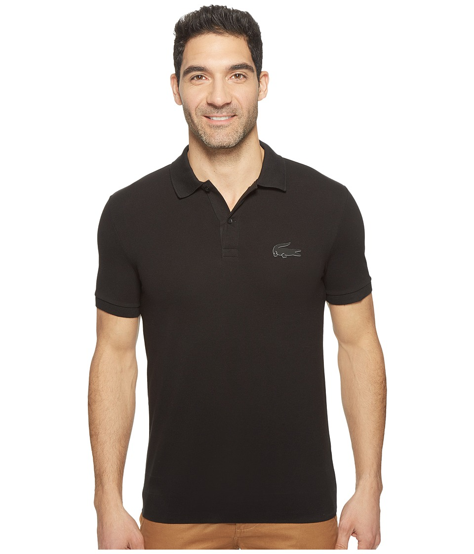 Lacoste - Short Sleeve Stretch Pique Rubber Largest Croc Polo Regular Fit (Black) Men's Short Sleeve Pullover