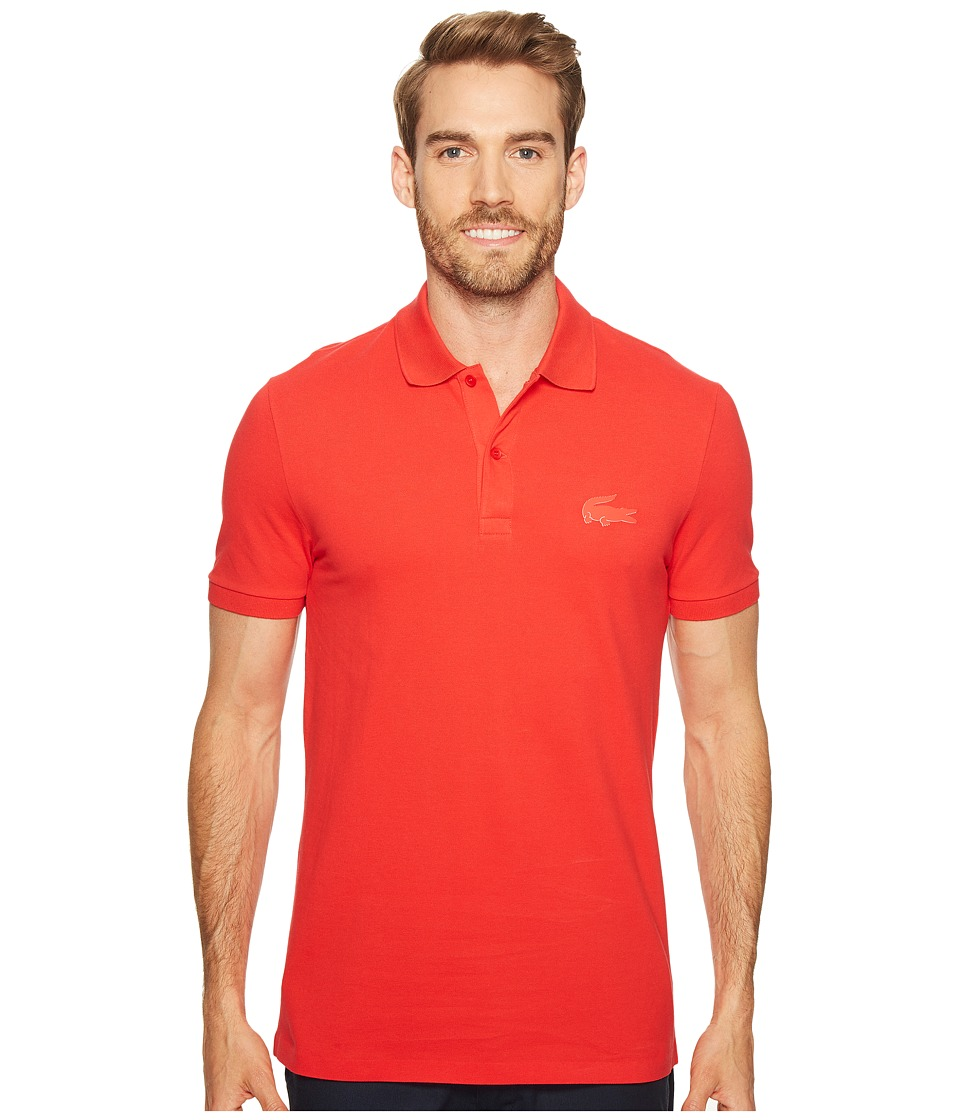 Lacoste - Short Sleeve Stretch Pique Rubber Largest Croc Polo Regular Fit (Grenadine) Men's Short Sleeve Pullover