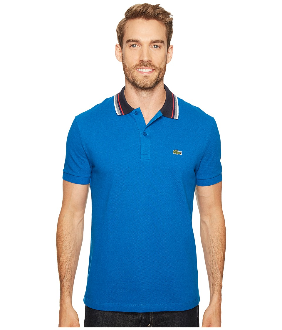 Lacoste - Short Sleeve Semi-Fancy Bold Stripe Collar Polo Regular (Sapphire Blue) Men's Short Sleeve Pullover