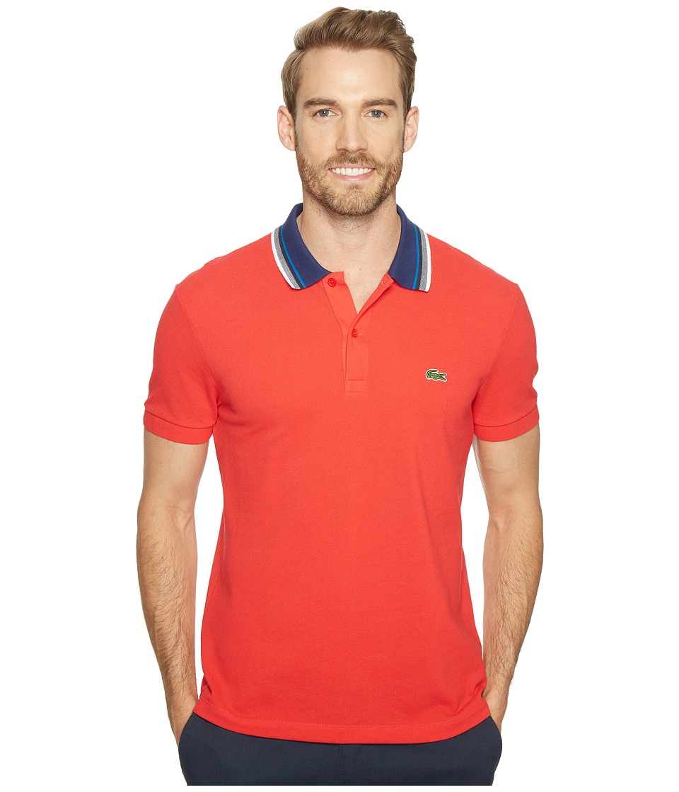Lacoste - Short Sleeve Semi-Fancy Bold Stripe Collar Polo Regular (Grenadine) Men's Short Sleeve Pullover