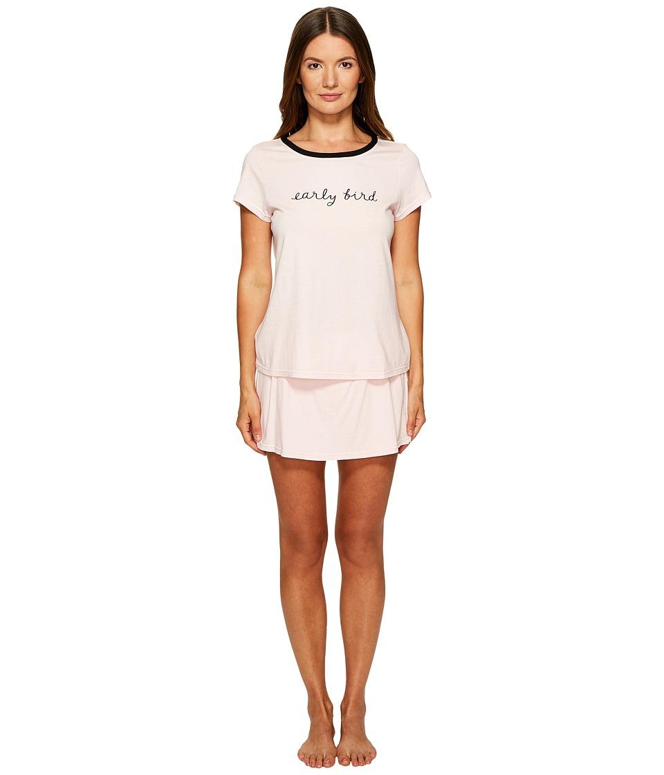 Kate Spade New York Early Bird Skort Pajama Set (Light Pink) Women