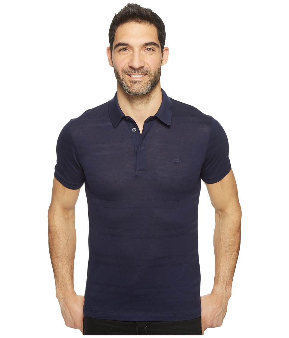 Lacoste - Casual Elegance Short Sleeve Pique Jersey Subtle Stripe Slim (Navy Blue) Men's Clothing