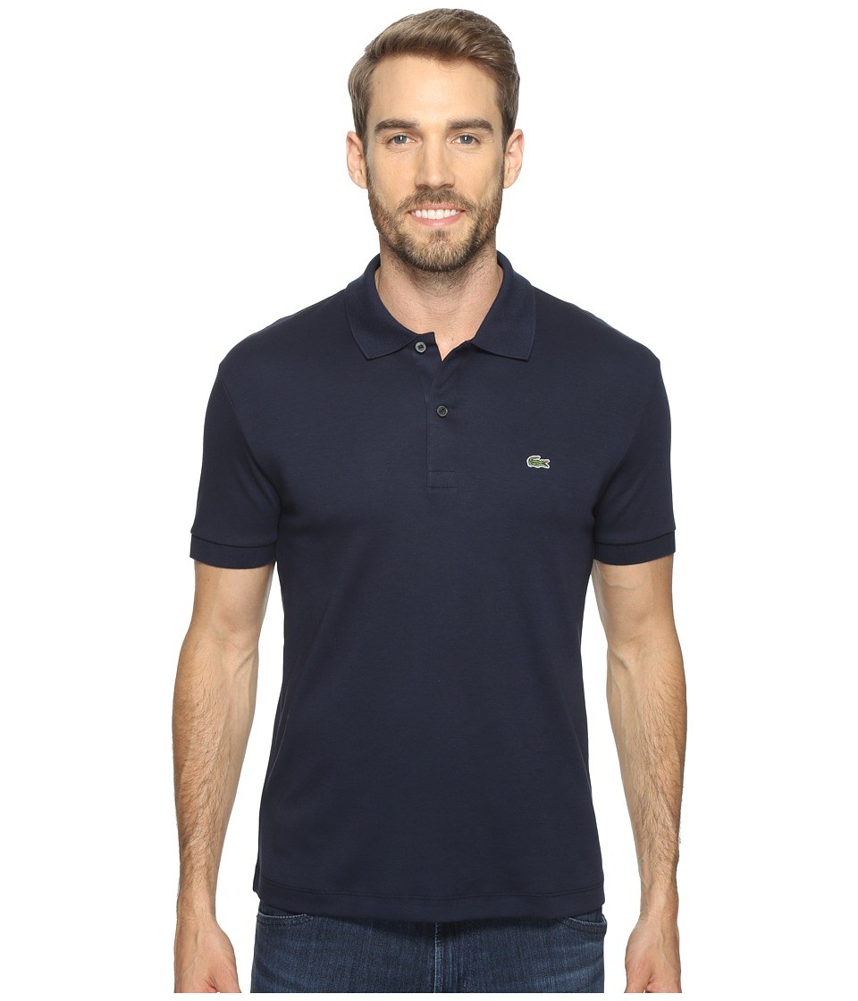 Lacoste - Short Sleeve Jersey Interlock Regular (Navy Blue) Men's Clothing