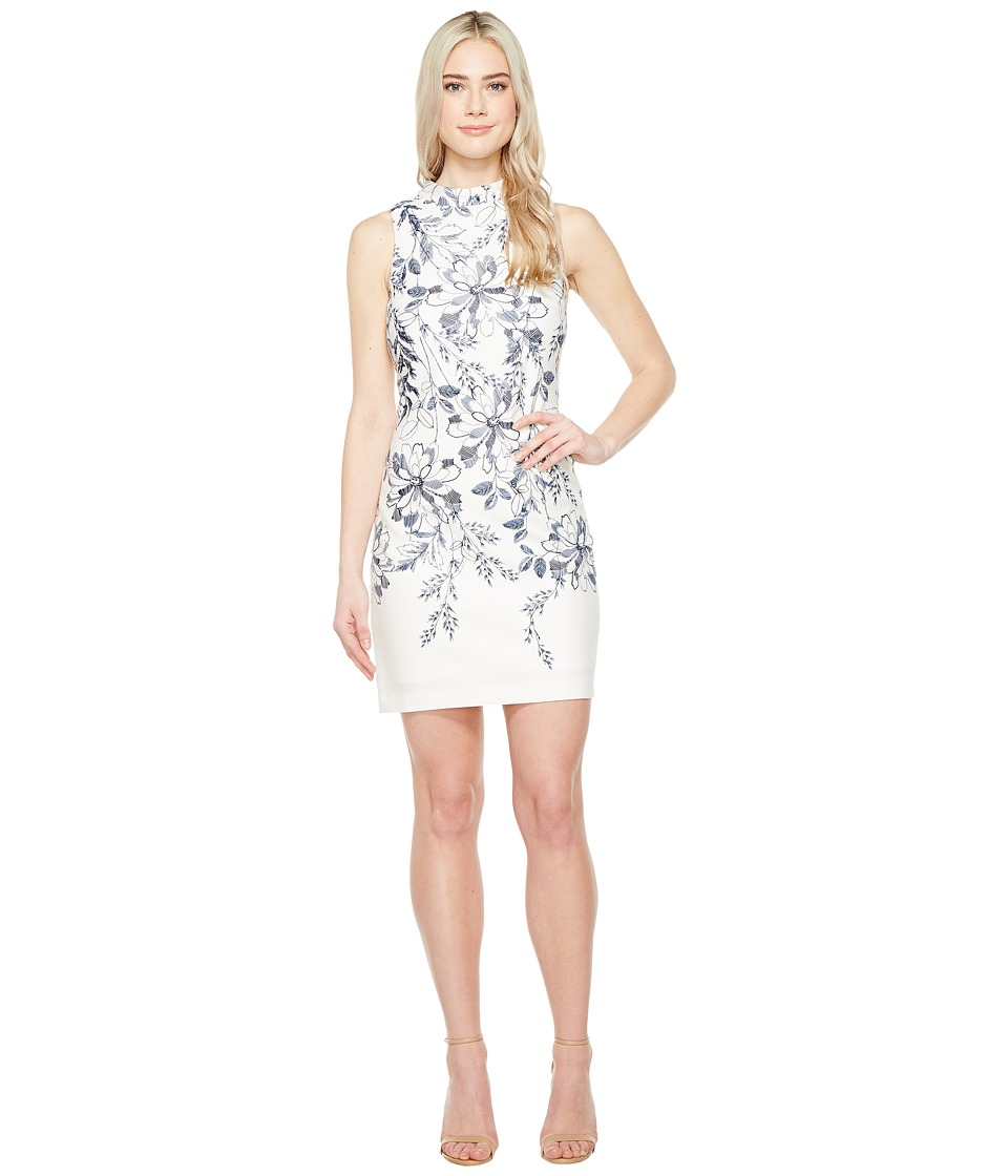 Ivanka Trump - Printed Floral Scuba Dress (Ivory/Navy) Women's Dress