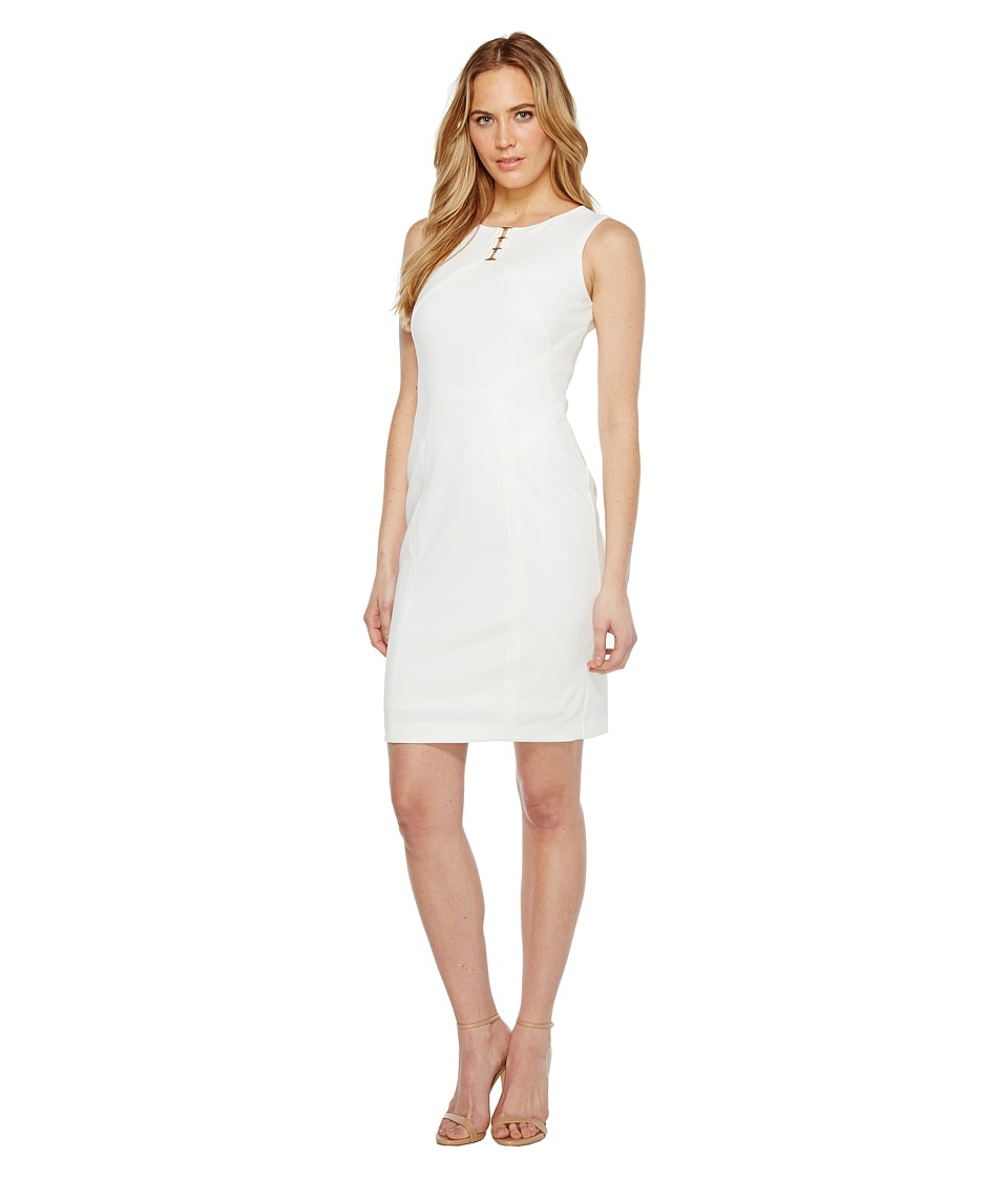 Ivanka Trump - Sleeveless Scuba Dress with Hardware (Ivory) Women's Dress