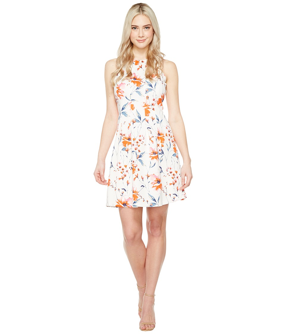 Ivanka Trump Printed Scuba Dress with Release Pleats (Ivory/Coral) Women