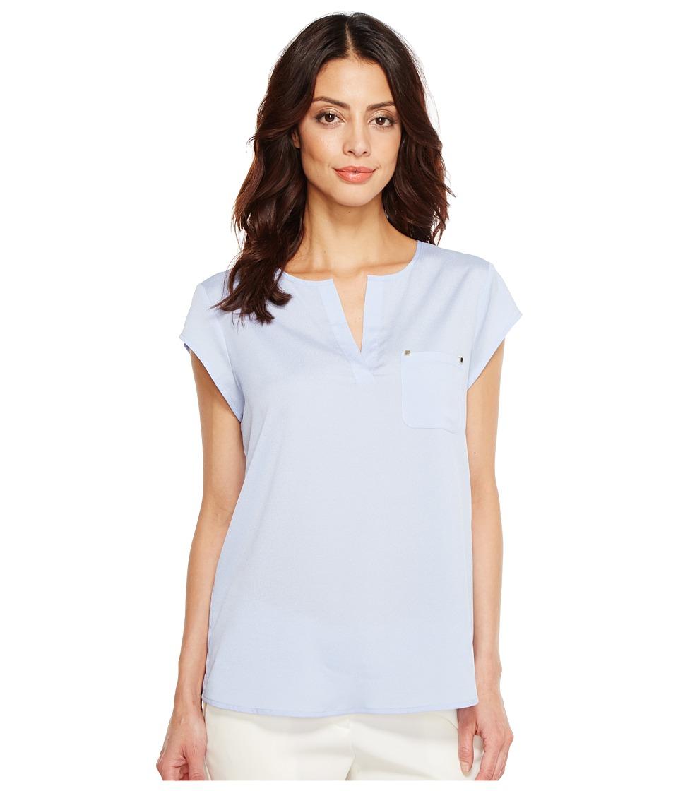 Ivanka Trump - Cap Sleeve Pocket Woven Top (Stonewash) Women's Clothing