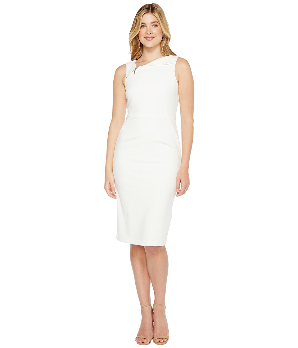 Ivanka Trump - Sleeveless Scuba Crepe Zipper Hardware (Ivory) Women's Sleeveless